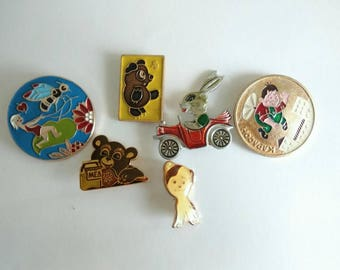Soviet pins badges SET  Cartoon characters pins Children's pins Bear Carl's on Hare pins Kids pins Vintage badges Vinnie the Pooh USSR 1980s