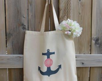 Monogram Tote Bag, Nautical Wedding Tote Bag, Anchor Tote Bag, Brides Tote Bag, Teacher Tote Bag, Monogrammed Tote Bag, Initial Tote Bag