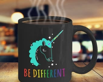 LGBT Lesbian Unicorn Rainbow Be Different | Lesbian Gift |  Gay Pride LGBT | Lesbian Mug | Fight for Equality | No H8 | LGBT Pride Month