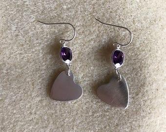 Silver Heart and Purple CZ Earrings