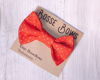 Orange bow tie, Orange baby boys bow tie, Gold dot bow tie, Orange Toddler bow tie, Toddler boys bow tie, boy orange bow tie, wedding bowtie