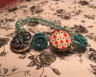 Teal/Blue Snap Button Bracelet