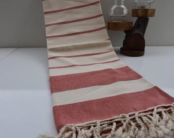 Red and Ivory Stripes-Traditional Turkish Towel-Hand Loomed woven Bath Towel