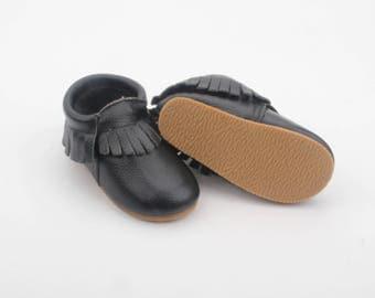 Moccasins / toddler shoes / leather moccs /leather moccasins / hardsole mocs / black moccs