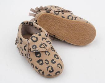 Moccasins / toddler shoes / leather moccs /leather moccasins / toddler cheetah moc / hard sole mocs / leopard moccs