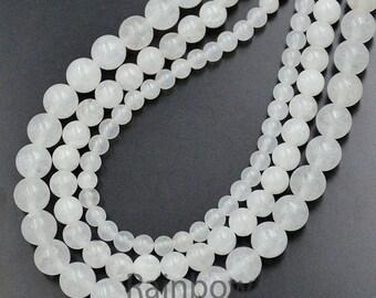 Natural Jade Beads, White Jade Beads, White Gemstone Beads, White Beads,  Round Natural Beads, 15''5 strand, 2mm 3mm 4mm 6mm 8mm 10mm 12mm