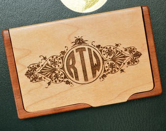Personalized Engraved business card holder, Custom Business Card Holder, Maple Rosewood holder, Monogram Card Holder, Engraved, BC 003
