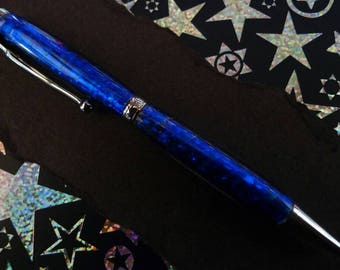 Hand Turned Blue Holographic Acrylic Pen