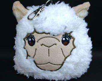 Id keycard badge holder keychain doll strap /plush sheep ,Japan