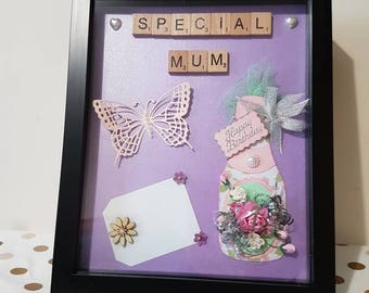 Special Mum Frame Birthday Gift Ideas Birthday Gifts for her Mums Flowers Box frame Birthday Present for mum Personalised Gifts