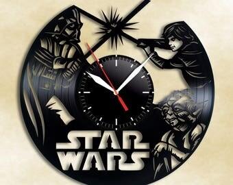 Star Wars vinyl wall clock Star Wars wall decor Star Wars Darth Vader Star Wars Death Star Star Wars gift Star Wars horloge Star Wars movie