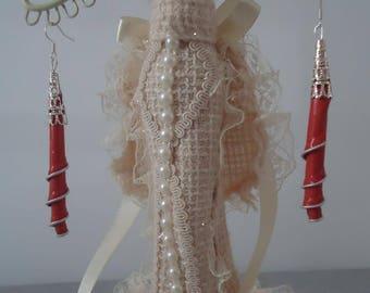 Red aluminum earrings