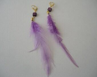 #Eté - purple feather with Pearl rhinestone earrings