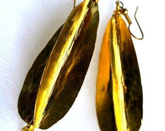 Fulani earrings, brass earrings, African drop earrings, tribal earrings, brass dangle earrings, Fula Gold Twist Earrings metal earrings