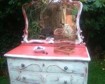 Dresser, vanity bedroom, vintage sideboard, dresser with mirror, bedroom furniture, painted sideboard Hutch heritage.