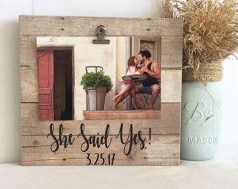 Engagement frame, wedding frame, personalized wedding, Personalized engagement, fiancé frame, fiancé gift, she said yes frame, engaged frame