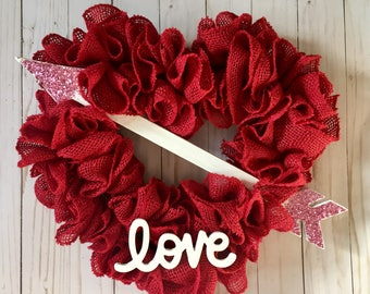 Valentine's Day Heart Wreath, HEART WREATH, Valentine's Day Wreath, Red Heart Wreath, Valentines Wreath, Love Wreath, Burlap Heart Wreath