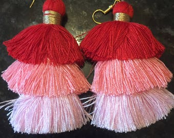 Red and pink tassel earrings