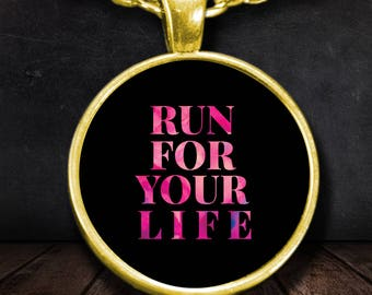 """Gift for Runner! """"Run For Your Life"""" Gold-plated 22"""" Chain and 1"""" Round Pendant Necklace!"""