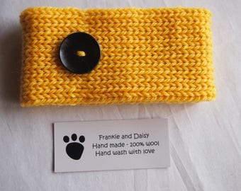 Woollen Hand Knitted Dog Collar in Lemon Yellow with a Big Bold Black Button (size M)