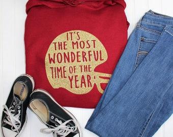 Football Shirt, The Most Wonderful Time of the year, Superbowl Shirt, Fall Shirt, Mom Christmas Gift, Glitter Football Helmet Shirt, Vinyl