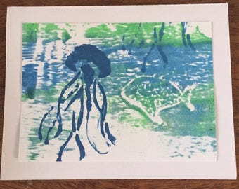 Original sea turtle art card