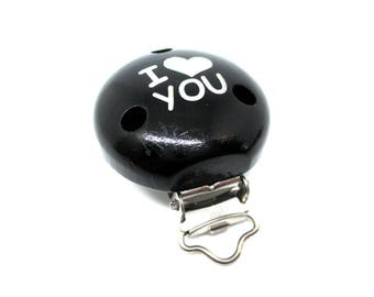 Wooden clip I Love You - black