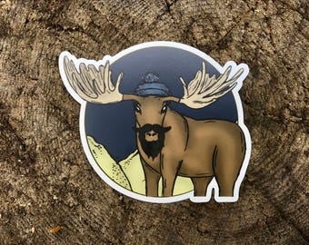 Hipster Moose Sticker