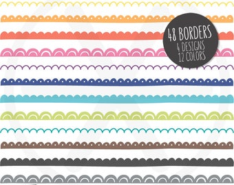 Borders Clipart. Colorful Doodle Scalloped Digital Borders Clip Art. Hand Drawn Scallop Ribbons. Commercial Use - PNG Instant Download