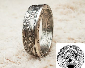 Coin ring USSR,50 copeks 1924, Russian souvenir, Silver Coin Ring, USSR, double sided, coin jewelry, artisan handmade Active,silver rings