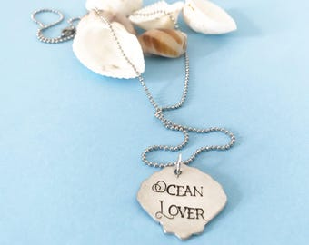 OCEAN LOVER, Necklace, Clam, Shell, Handstamped, Beach, Sea, Gift for Her, Birthday, Valentines Day