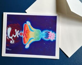wish card om- chakra- meditation- lutin's art