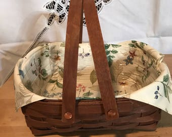 Longaberger square basket with plastic and cloth liner