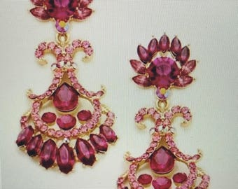 Dark Fuchsia Pink Chandelier Pierced Earrings