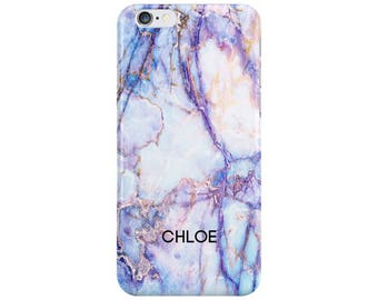 Personalised Name initials Purple Galaxy Marble Phone Case Cover for Apple iPhone 5 6 6s 7 8 Plus & Samsung Galaxy Customized Monogram