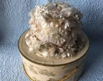 ladys victorian flowered hat and box