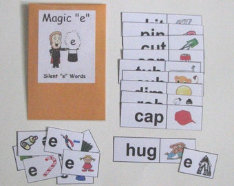 Teacher Made Literacy Center Educational Learning Resource Game Silent E Words