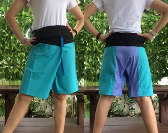 Discount 20%--Short Patchwork pants, Thai fisherman pants with 1 pocket, free size (see detail).(No.17)