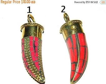 Special 30% Discount Tibetan Brass Horn Pendant,Large Tibetan and Brass Mosaic Pendant,Brass with Lapis,coral ,Gemstone pendant
