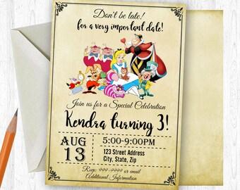 Alice in Wonderland Birthday Invitation, Alice in Wonderland Birthday Invite, Alice in Wonderland Invitation,Printable Invitation
