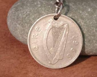 1966 Irish Florin CoinnKeyring, Ireland Coin Keychain. 2 Shillings Irish Coin Key Ring