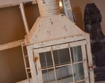 Rustic Lantern, Farmhouse Decor, Shabby Chic Decor, Candle holder, Railroad Lantern, Cream Distressed Fixer Upper Vintage Lighting Wedding
