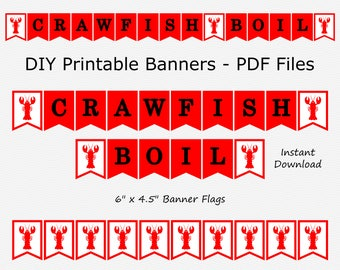 Crawfish Boil Banner - Red & White - Crawfish - Birthday Party Caelebration - PRINTABLE - INSTANT DOWNLOAD