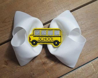 School Bus Bow - Back To School Bow - Hair Bow