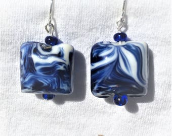 Blue and white sea waves glass earrings