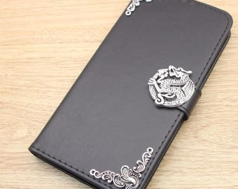 Dragon Wallet Leather Flip Stand Handmade Case Cover For Samsung Galaxy S5 S6 S7 Edge S8 Plus + Note 3 4 5 8 A3 A5 2017