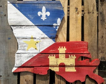Acadian Flag. Louisiana Cut Out. Distressed. Rustic. Pallet Wood. Reclaimed Wood.