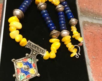 Morrocan Boghdad Tuareg Berber North African Marrakech Amazigh Tafinagh Tiznit beaded genuine Lapis Lazuli and yellow Quartz Cross necklace.