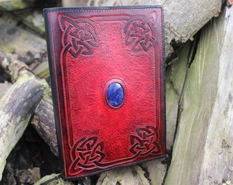 Grimoire leather Celtic decoration and gemstone A5 size