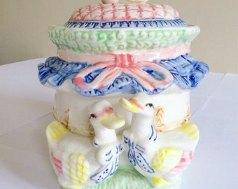 Vintage Kitsch Duck Cookie Jar - Biscuit Barrel - Farmyard - Bow and Quilted - Bird